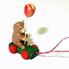 Tiny Handcrafted Wood Bear with Balloon Pull Toy