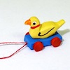 Handcrafted Tiny Wood Duck Duckie Pull Toy