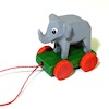 Handcrafted Tiny Wood Elephant Pull Toy