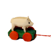 Handcrafted Tiny Wood Pig Pull Toy