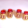 Ruby Red Tumbler Set with Gold Filigree