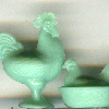 Dollhouse Miniature Pale Green Rooster and Hen on the Nest Set