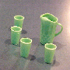Green Water Pitcher and Glasses