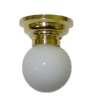 Working White Ceiling Fixture Globe Lamp