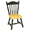 Oak and Hunter Green Wood Kitchen or Dining Chair