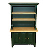 Hunter Green and Oak China Cabinet Hutch