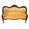 Upholstered Flower Print Victorian Mahogany Settee Sofa