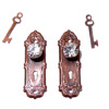 Ornate Crystal and Bronze Door Knob Set With Keys