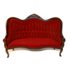 Upholstered Red Velour Victorian Walnut Settee Sofa