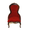 Upholstered Red Velour Victorian Walnut Ladys Chair