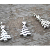 Set of Three Miniature Silver Christmas Tree Ornaments