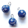 Set of Blue Silver Star Ball Christmas Ornaments.