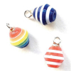 Set of Bright Stripe Christmas Ornaments.
