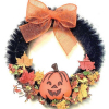 Black Halloween Wreath with Jack O Lantern