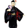 Artisan Crafted Dollhouse Doll Asian Lady in Black Kimono