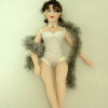 Artisan Crafted Dollhouse Doll Harlot in Perforated White Teddy