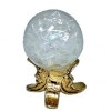 Handcrafted Crystal Ball on Gold Metal Man in the Moon Base