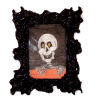 Framed Haunted Halloween Skeleton Picture