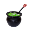Halloween Witch Cauldron With Green Magic Potion and Skull