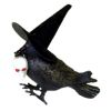 Scary Halloween Crow or Raven With Skull and Witch Hat