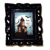 Framed Haunted House With Moon and Bats Picture