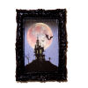 Framed Haunted House With Moon Picture