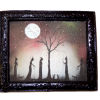 Framed Spooky Silhouette Witches Under the Moon Picture