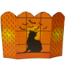 Black Cat and Bats Halloween Fireplace Screen