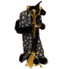Halloween Witch and Wizard Coat Stand with Cape Hat and Broom