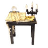 Halloween Magic Table with Bat Candelabra Crystal Ball Scrolls