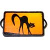 Handcrafted Wood Halloween Black Cat Tray