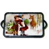 Handcrafted Wood Christmas Tray Winter Scene Deer With Children