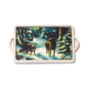 Handcrafted Wood Christmas Tray Winter Scene Deer In The Woods
