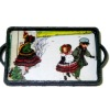 Handcrafted Wood Christmas Tray Winter Scene With Children