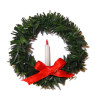 Handcrafted Christmas Wreath With Candle and Bow