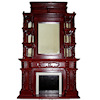Victorian Mahogany Wood Mirrored Fireplace with Shelves