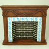 Fireplace with Blue and White Faux Tiles