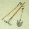 Three Piece Wood and Metal Garden Tool Set