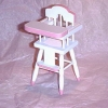 Working White High Chair with Pink Trim