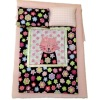 Handcrafted Five Piece Pink Cat Single Bed Linen Set