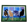 Handcrafted Curious Cats Welcome Mat Doormat