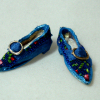 Dolls Cobbler Blue Brocade Flat Slippers