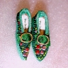 Dolls Cobbler Green Brocade Flat Slippers