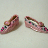 Dolls Cobbler Pink Brocade Flat Slippers