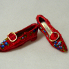 Dolls Cobbler Red Brocade Flat Slippers