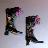 Dolls Cobbler Black Brocade High Button Boots