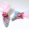 Dolls Cobbler Blue Silk Brocade French Feathered Mules