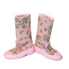 Doll Cobbler Pink Floral Garden or Rain Boots and Box