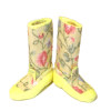 Doll Cobbler Yellow Floral Garden or Rain Boots