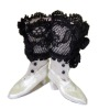 Doll Cobbler Black and White Victorian High Button Boots Set